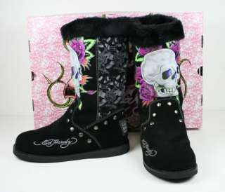 Ed Hardy Womens Bootstrap Black Skull Roses Boots