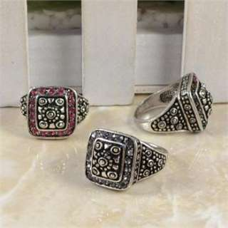 10pcs Vintage Silver Plated Square Emperor Crystal Rings R129