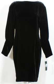 NWT RALPH LAUREN Black Velvet LS Back V Dress 10