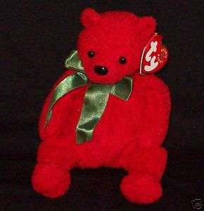 TY Beanie Baby MISTLETOE Red Holiday Bear 7 MWMT
