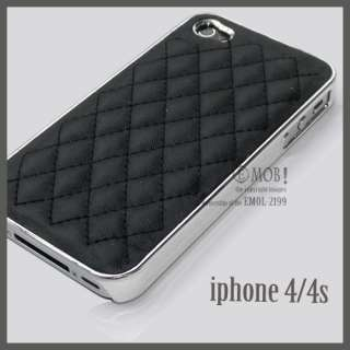 Luxury Designer black Hard Case Back Leather Cover F iPhone 4 4s