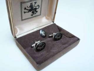 Vintage Boxed Set Cufflinks & Tie Pin Sterling SIAM;