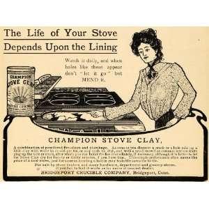 1904 Ad Bridgeport Crucible Champion Stove Clay Wife