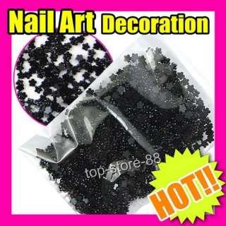 Mini Black Flowers 3D decoration Nail Art Ongles S263