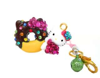 JEWELED HELLO KITTY SANRIO CHARM KEY STRAP FIGURE RHINESTONE