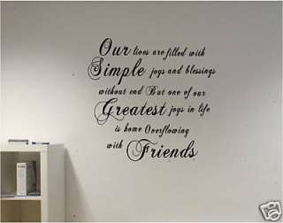 ITALIC WALL QUOTE vinyl art decal sticker FRIENDS art