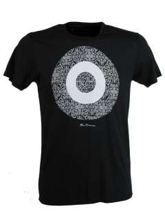 Mens Ben Sherman Black T Shirt Grey Baroque Target Print