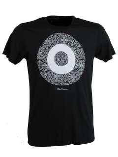 Mens Ben Sherman Black T Shirt Grey Baroque Target Print |