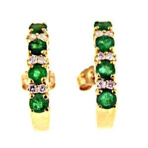 25 CT YELLOW GOLD EMERALD & DIAMOND EARRINGS 14 KT
