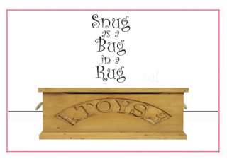 SNUG AS A BUG KID PLAYROOM WALL STICKER ART DECAL QUOTE