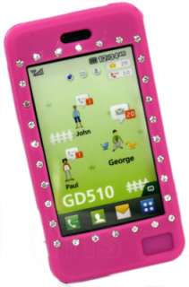 HOT PINK SILICONE DIAMOND CASE FOR LG GD510 GD 510 POP