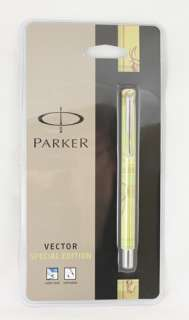Parker Vector Rollerball Pen YELLOW CHECK Ecotime NEW