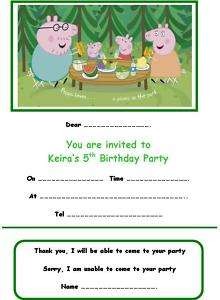 PERSONALISED PEPPA PIG PARTY INVITATIONS x 10