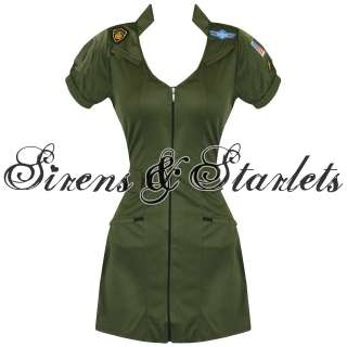 LADIES NEW SEXY US AIR FORCE TOP GUN MILITARY PINUP FANCY DRESS OUTFIT