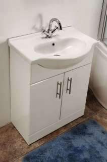 650 BATHROOM CABINET WHITE VANITY UNIT BASIN & FREE TAP