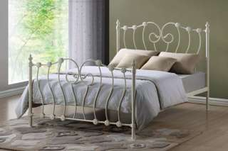 Victorian Style Ivory Metal Double Bed Frame