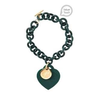 Bracciale verde scuro Ops Love in resina con cuore in silicone
