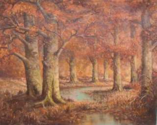 Huge Vintage Texas Landscape Forest Oil Painting Art