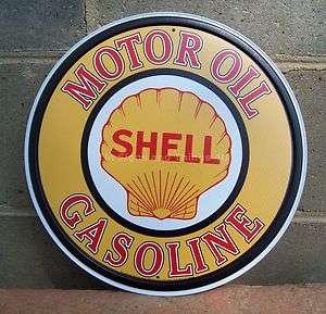 Shell Motor Oil Gasoline ROUND TIN SIGN vtg gas pump garage decor