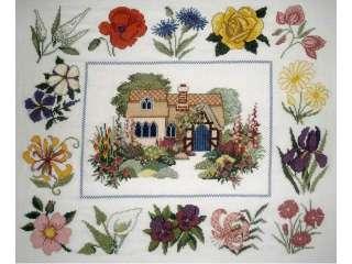 Casa con flores, punto de cruz, bordado, cuadro (4038591)