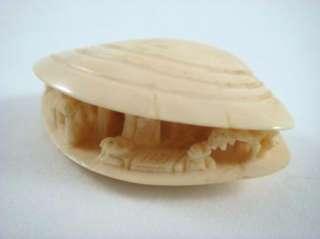 Vintage Anabori Netsuke Japanese Carved Ox Bone Clam Shell Diorama