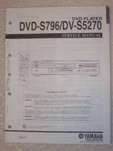 Yamaha Service Manual~DVD  S796/DV S5270 DVD Player
