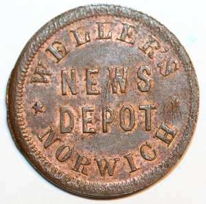 NORWICH, CT CIVIL WAR STORE CARD MERCHANT TOKEN