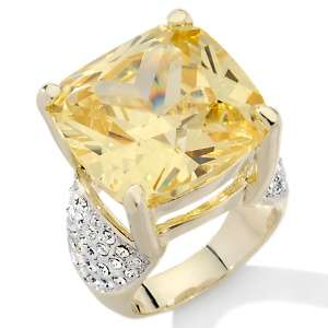 Kissed and Savvy Canary CZ and Pavé Crystal Cocktail Ring