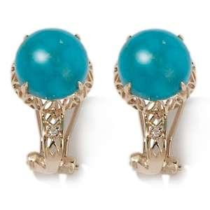 Heritage Gems Turtle Back Turquoise and Diamond 14K Omega Earrings at