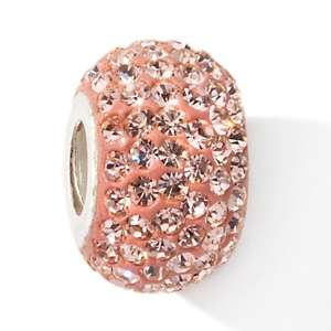 Inspirations Sterling Silver Pink Crystal Glass Bead Charm