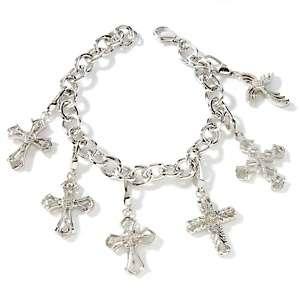 50ct Diamond Sterling Silver Cross 7 1/2 Charm Bracelet