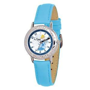 Disney Tinker Bell Kids Time Teacher Watch  Blue Leather Strap