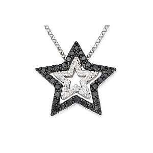 40ct Black and White Diamond 14K White Gold Star Pendant with 17