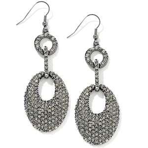 Justine Simmons Jewelry Black Diamond Color Crystal Pavé Oval