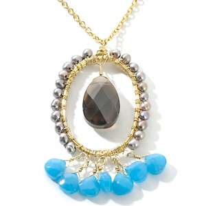 Sterett Smoky Quartz and Multigemstone Wire Wrap Necklace