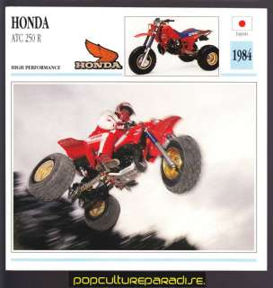 1984 HONDA ATC 250 R Three Wheeler ATV BIKE SPEC CARD