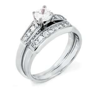 Delight Silver Wedding Ring Set / Two Piece Engagement Set with Cubic
