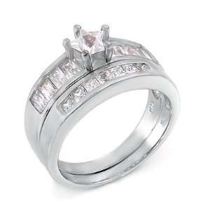 Sterling Silver Wedding Ring Set / Two Piece Engagement Set with Cubic