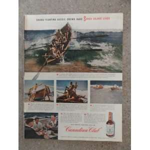 Canadian Club Whiskey,Vintage 40s full page print ad (boat) Original