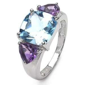 20 Carat Genuine Blue Topaz & Amethyst Sterling Silver Ring Jewelry