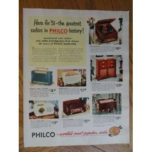 Philco Radios, Vintage 50s full page print ad. Color Illustration