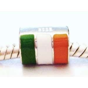 Authentic 925 sterling silver Irish flag charm for pandora bracelets