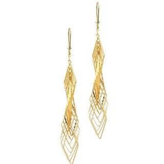 14KT Filigree Drop Earrings Gold and Diamond Source Jewelry