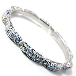Aurora Borealis Three Sided Rhinestone Flower Bangle Bracelet Jewelry