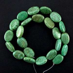 18mm green turquoise flat oval beads 16 strand