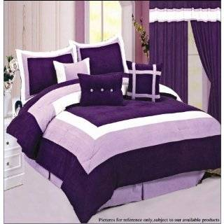 Quality Soft Micro Suede Comforter Set Bedding in a bag, Purple   King