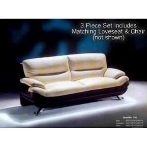 3 Piece Contemporary Beige/Black Leather Sofa Loveseat