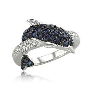 14K White Gold Blue Sapphire & Diamond Dolphin Ring Jewelry
