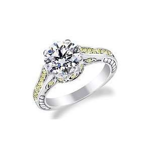 Carat Diamond Ring with yellow fancy accent Diamonds in 14K Gold Ring