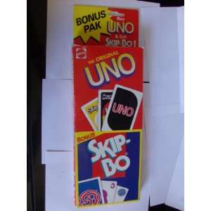 Uno Card Game Bonus Pack With Free Skip Bo Included: Toys & Games